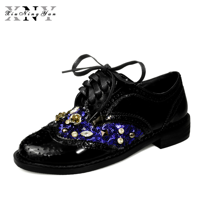XiuNingYan Women Genuine Leather Oxford Shoes Woman Flats Handmade Vintage Retro Lace Up Loafers Casual Flat Shoes Large Size 43-in Women's Flats from Shoes    1