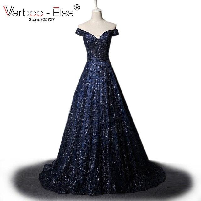 ccea15e14b0d2 VARBOO_ELSA Parlak Mavi Mezuniyet Elbiseleri 2018 Arapça Custom Made Parti  Elbise Glitter Uzun Balo Elbise Kadınlar