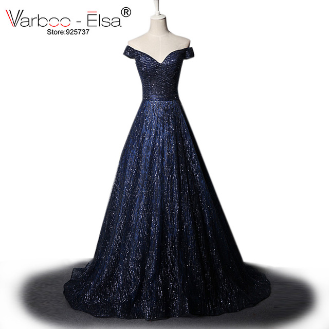 0764ed13af US $137.2 44% OFF|VARBOO_ELSA Sparkly Blue Homecoming Dresses 2018 Arabic  Custom Made Party Dress Glitter Long Prom Dress Women Formal Prom Dress-in  ...