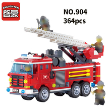 ENLIGHTEN  City Police Fire Truck Firemen Car Building Blocks Sets Bricks DIY Model Kids Toys Gift недорго, оригинальная цена