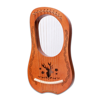 ins Katoon Wooden Lyre 10 Strings Harp Nylon Strings Rosewood Topboard Rubber Wood Backboard String Instrument with Carry Bag