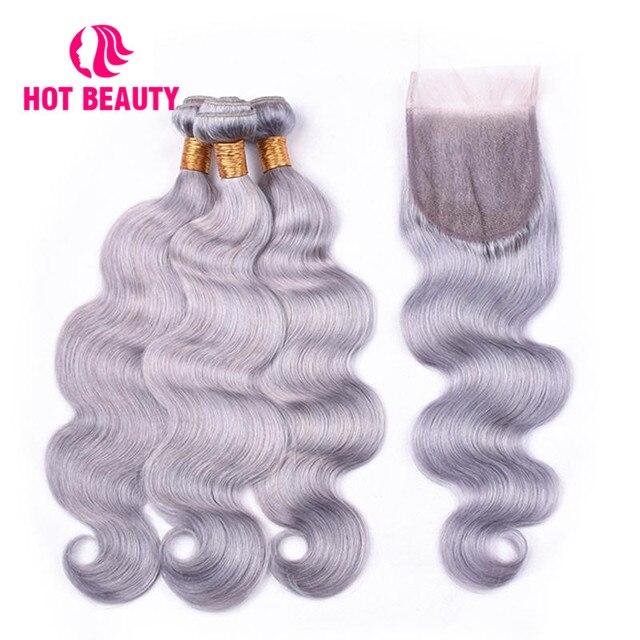 Hot Hair Beauty Onda Do Corpo Pacotes Com Fecho 3 Extensão Tecer Cabelo Brasileiro Feixes de Fechamento Do Laço Do Cabelo Remy 100% Humano
