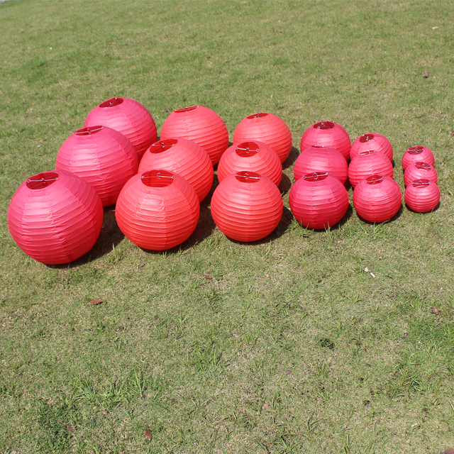 10 Pieces 6-8-10-12-14-16 Inch Red Chinese Paper Lanterns For Festive Supplies Birthday Party and Wedding Decoration Paper Ball