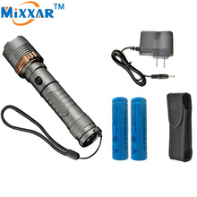 zk30 Cree XM-L T6 Self Defense Tactical LED flashlight Torch 4000LM powerful lamps 18650 5000mAh battery AC Charger Rechargeable