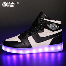 Size 33-42 Kids Led Usb Charging Glowing Sneakers Children Luminous Shoes for Gi