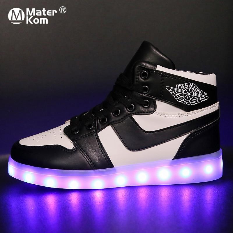 Tamaño 33-42 niños Led Usb cargando zapatillas brillantes zapatos luminosos infantiles para niñas niños hombres mujeres zapatos de Skate iluminar zapatos