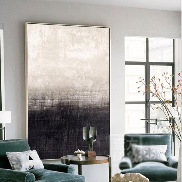 Nuevo enmarcado blanco y negro moderno arte abstracto de la pared ...