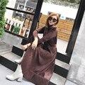 [Soonyour] 2017 nueva otoño invierno solid color de la restauración de maneras antiguas de manga larga v de plomo de compresión de la cintura sexy dress mujer ak0254s