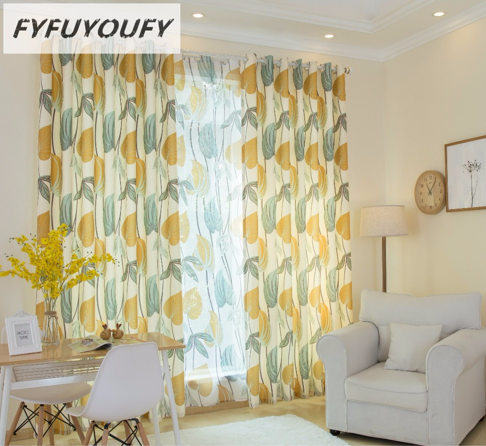FYFUYOUFY Modern Fresh Summer Leaves Printed Curtains For Living Room Bedroom Bright Colors Tulle Sheer Shading