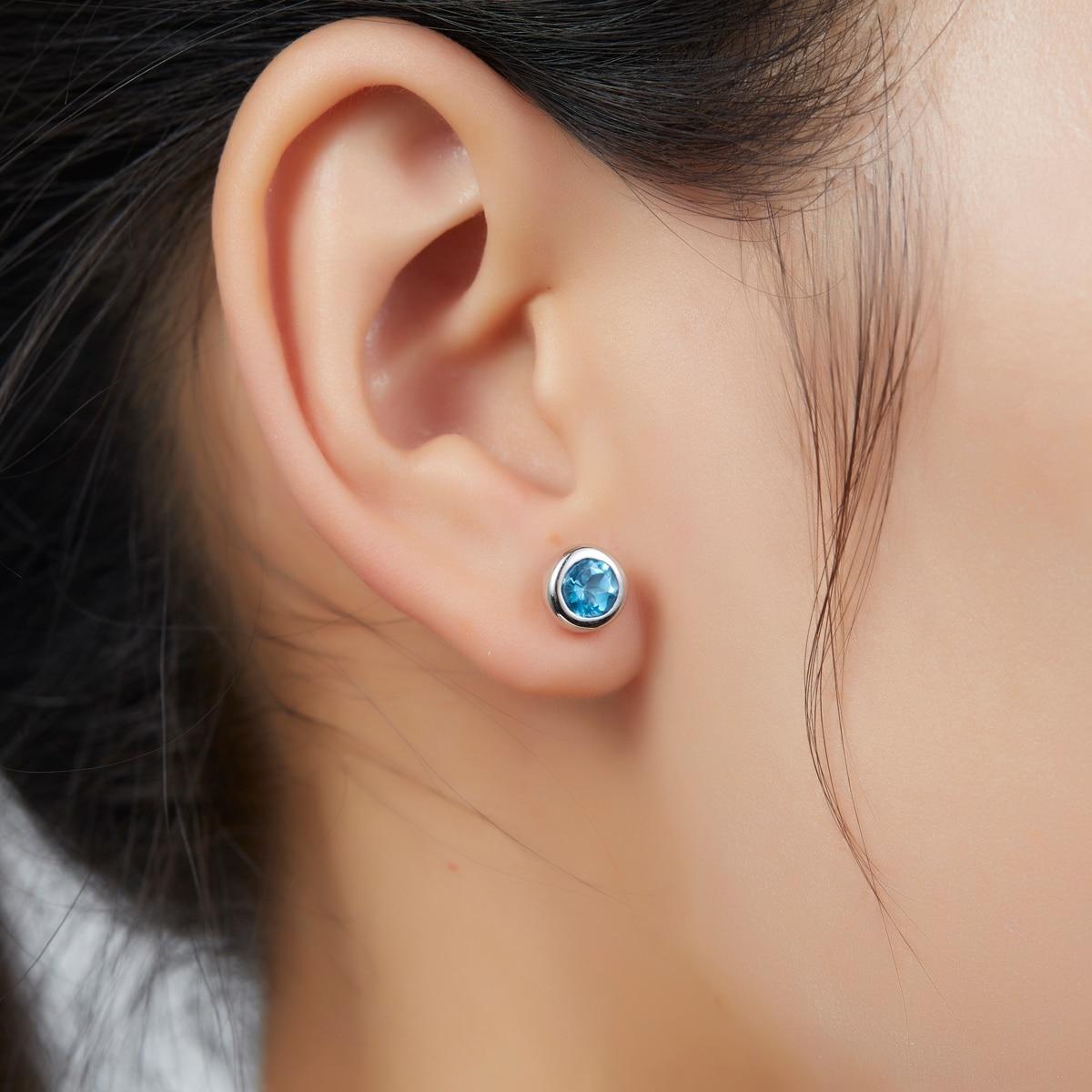 Hutang 1.21ct Round 5mm Swiss Blue Topaz Solid 925 Sterling Silver Stud Earrings for Women Gemstone Fine Jewelry Simple Design planet design gemstone stud earrings