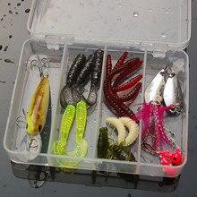 20 Pcs Set Fishing Tackle Box with Jig Head font b Fishhooks b font Soft Worm