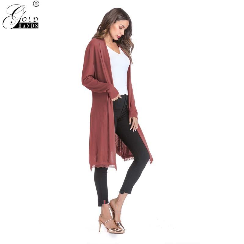 Золотые руки осень зима новый модный кардиган с длинными рукавами Тонкий Пальто для будущих мам женская верхняя одежда однотонные узкие