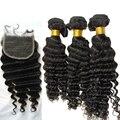 8a cabelo brasileiro produtos para o cabelo virgem com fecho de onda profunda brasileira lace closure com feixes de cabelo brazillian virgem cabelo