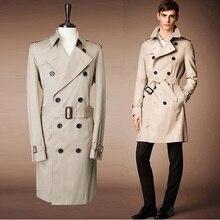 2016 europäischen Amerikanischen stil herrenmode casual einfarbig graben mantel/männlichen dünnen langen graben mantel