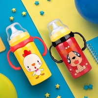 New baby cute cup double insulation stainless steel with handle automatic straw multifunction baby bottles children milk bottle