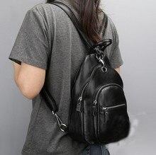 100% Гарантия Натуральный Натуральная кожа женщины рюкзак Многофункциональный груди мешок плеча мешок Небольшой случайный женские сумки для путешествий