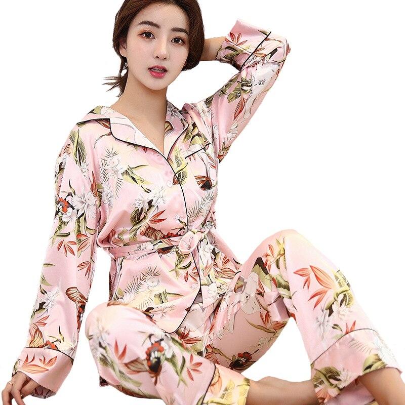 Sexy Women Long Sleeve Kimono Bath Gown Ladies 2PCS Robe+Pants Sleep Suit Print Floral Sleepwear Set Casual Silky Pajamas