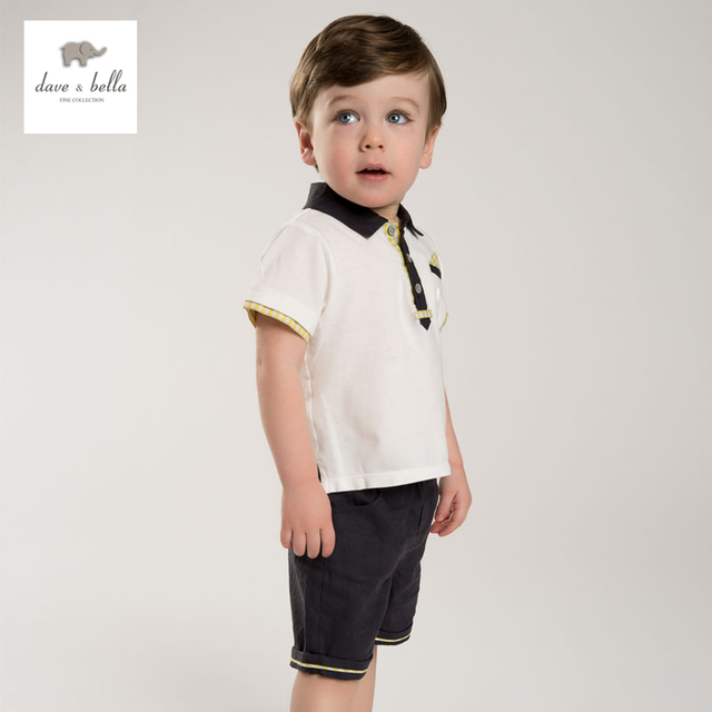 DB3587 dave bella summer baby boys polo shirt clothing set kids gentleman clothes boys cool soft clothing set
