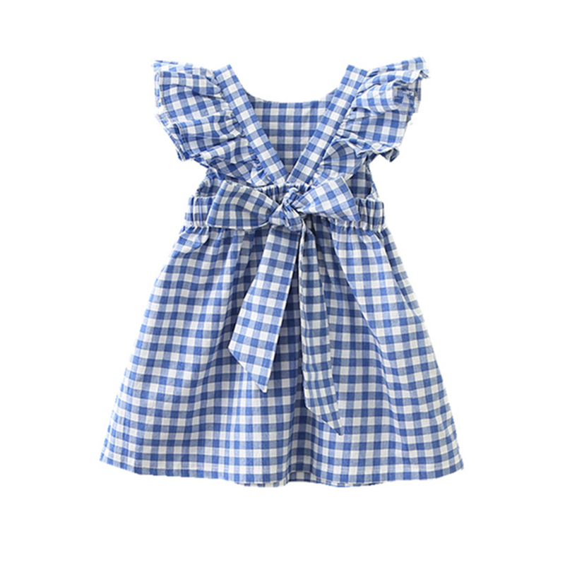 Hurave Summer sleeveless plaid baby Girl clothes ruffles backless Children dress crew neck baby dresses Kids Clothing
