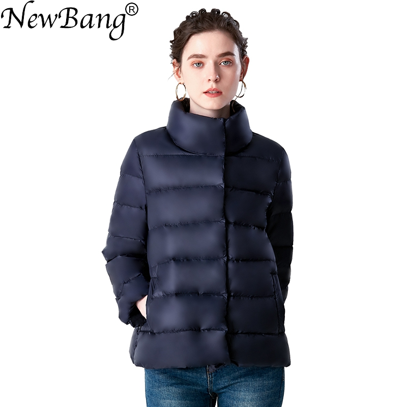 NewBang Brand Short   Down   Jacket Fashion Stand Collar Slim Women's White Duck   Down     Coat   Winter Jacket Warm Lightweight Clothes