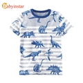 Babyinstar 2017 Nuevo Dinosaurio Patrón Niños Camiseta Del Verano Del Bebé de La Raya Superior Tee Ropa de Moda Para Niños Camisetas de Los Muchachos prendas de Vestir Exteriores