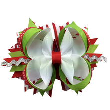 Sacarla 5 inch Grosgrain Ribbon hair clip Hair Bows hairpin Girls Christmas Best Gift Alligator Clip