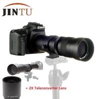 JINTU 420-800mm 1600mm f/8 HD telefoto Zoom objektifi + 2X Teleconverter NIKON için Lens D5200 D5600 D3300 d90 D3200 D3400 D7100 D7200