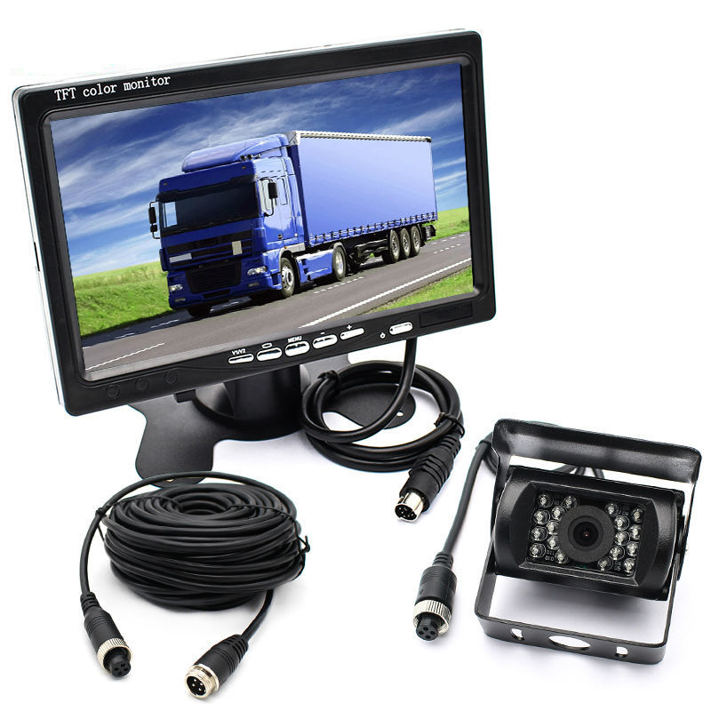 "Bus Truck RV Vehicle IR LED Rearview Backup Reverse Camera Weatherproof+ Remote Control 7"" LCD Color TFT Monitor 800*480 0"