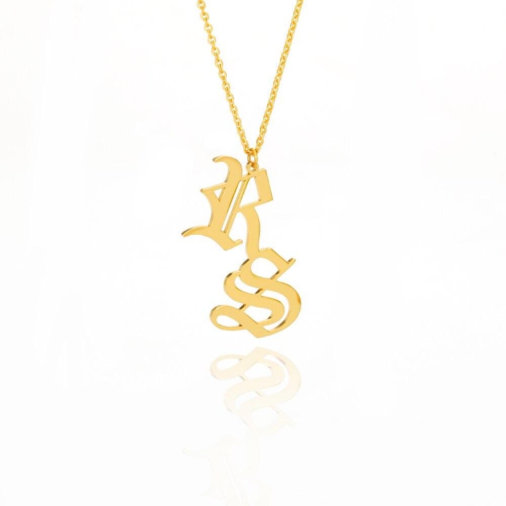 Collier avec nom personnalisé ancien anglais   Colliers et pendentifs en or, colliers et pendentifs personnalisés, bijoux pour vêtements et accessoires de femmes