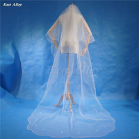 New Handmade Beaded Wedding Veil 2 Layer Chapel Length 240cm Bridal Veil Beads Flowers
