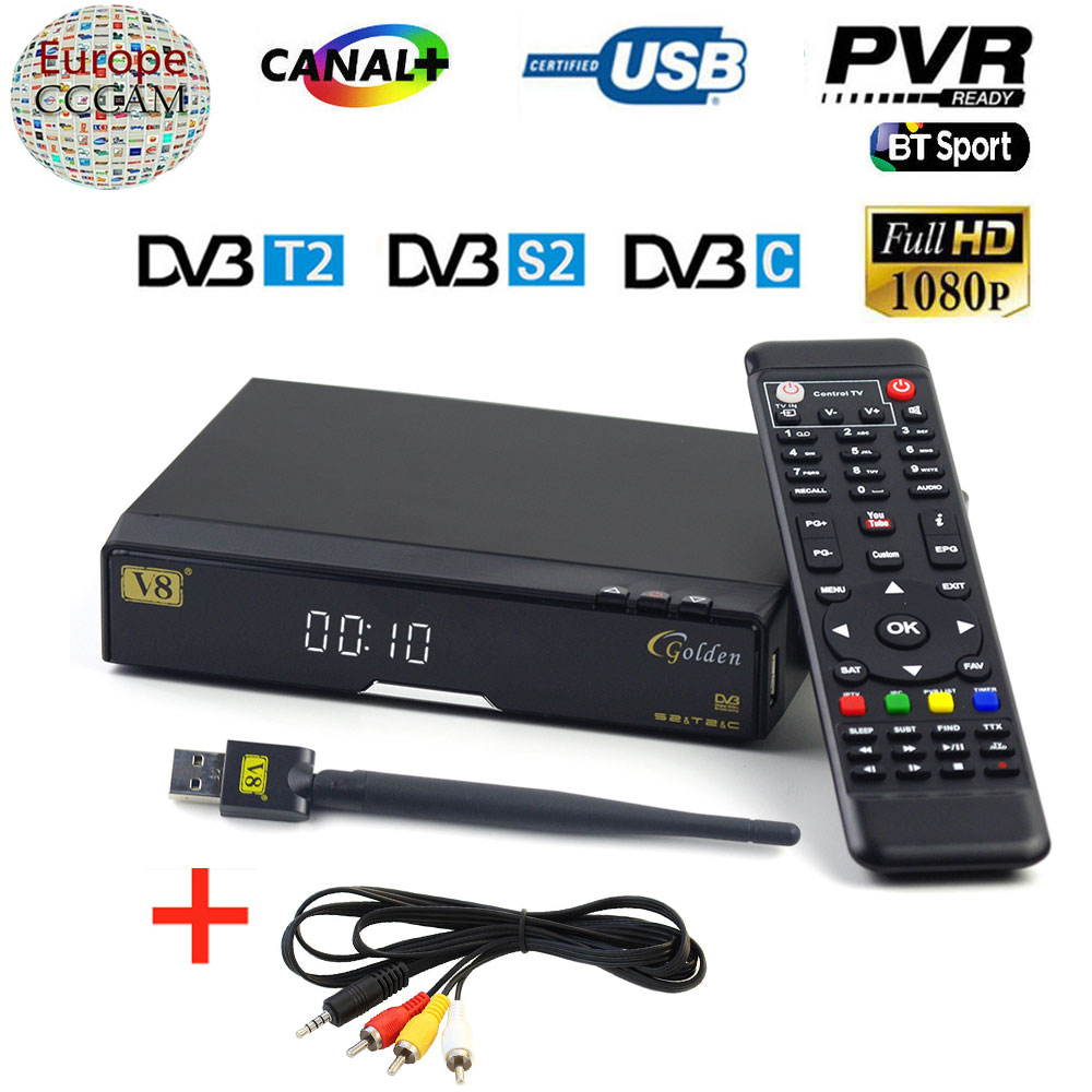 V8 Golden DVB S2/ T2/C Receptor satellite Decoder USB WIFI AV Cable with 1 year Europe Cccam account Optional Satellite Receiver freesat v7 hd powervu satellite tv receiver dvb s2 with 3months free africa cccam account stable on starsat 5e