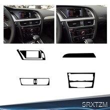 Srxtzm console de controle fibra carbono do carro cd quadro capa guarnição interior botões ar condicionado quadro decorativo para a4 a5 b8 reequipamento