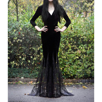 Women Cosplay Halloween Medieval Vintage Dress Long Sleeve Witch Long Dress Renaissance Gothic Dress Sexy Ladies Dresses Black