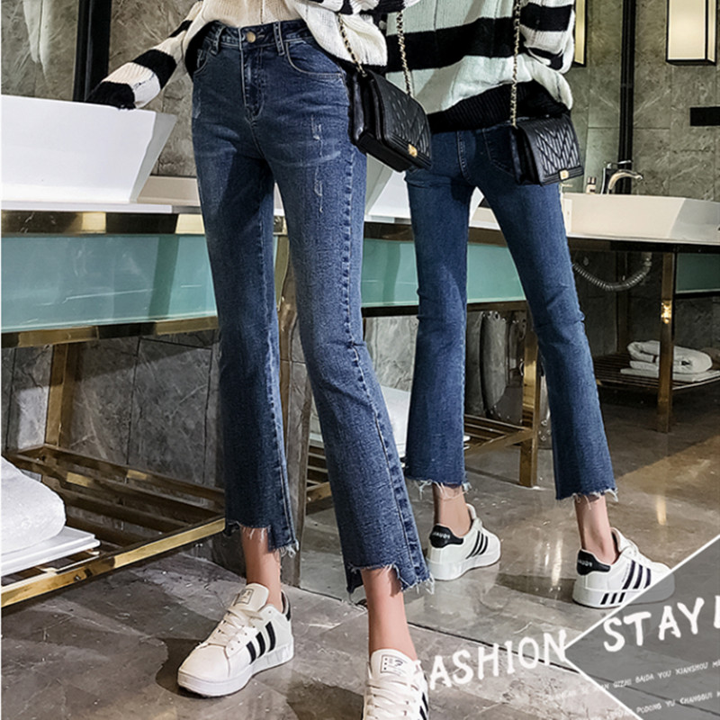 JUJULAND Women Jeans Plus Size Female Stretch Slim Denim Flares Pants Breathable Fashion Bell Bottom Trousers 00601