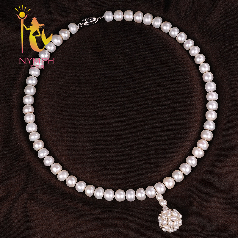 [NYMPH ]Natural Pearl Necklace Pearl Jewelry White Freshwater Choker Necklace Trendy For Wedding Party Fine Jewelry X120 квадрокоптер blade inductrix fpv blh8500