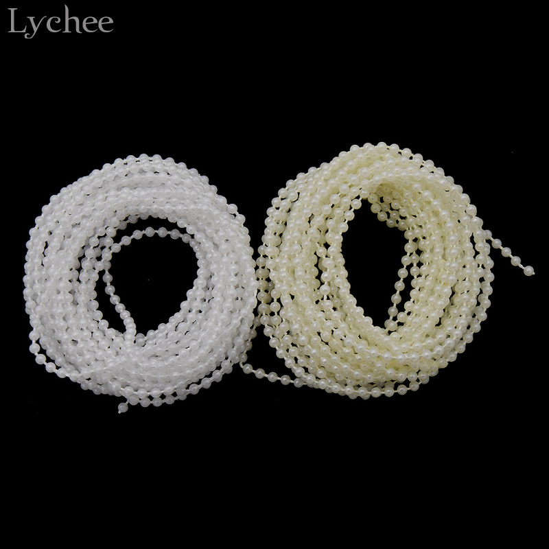 5m Gold Pearl Beaded String Sewing Trim Cake Deco Christmas Wedding Bride