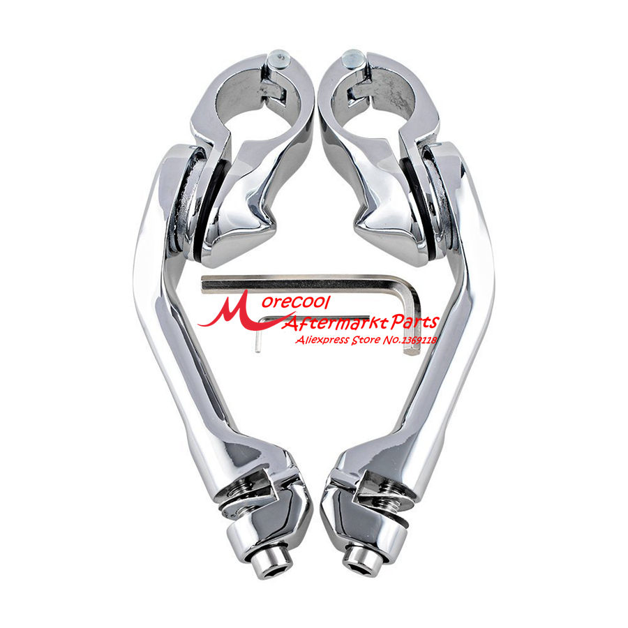 2pcs Chrome Adjustable Highway Peg Mounting Long Angled Kit Compatible with Harley 1.25 Engine Guard Tube Bar
