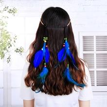 American Bohemian wind hair band hand-braided headband pendant hair band Indian national wind feather hair ornaments цены
