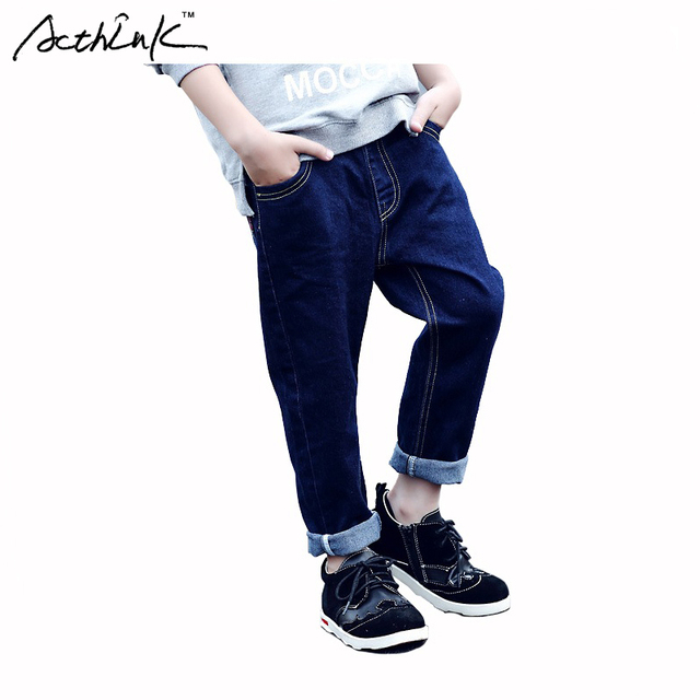 ActhInK New Gentle Boys Solid Blue Jeans Brand Denim Trousers Boys Spring Outdoor Long Pants Kids Korean Fashion Clothes , MC110