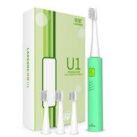Marke Neue Ultraschall Elektrische Zahnbürste USB Lade Wiederaufladbare Timer Zahnbürsten 4 Stücke Ersatzbürstenköpfe Oral Care Kit