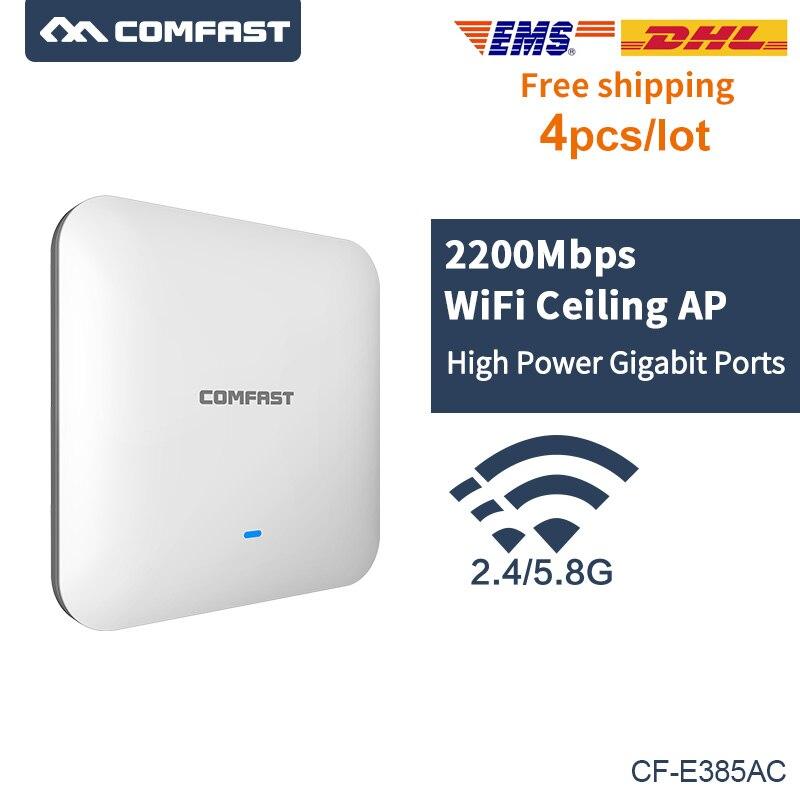 4 pièces 2200 Mbps Gigabit LAN sans fil Plafond AP routeur wi-fi 802.11AC 5.8G & 2.4G POE routeur WIFI et Point D'accès WiFi AP pour Hôtel