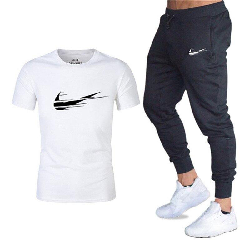 2019 Sommer Neue Mode Männer Sets Freizeit Sport Zwei-stück Männlichen Kurzarm Shirt + Gym Hose
