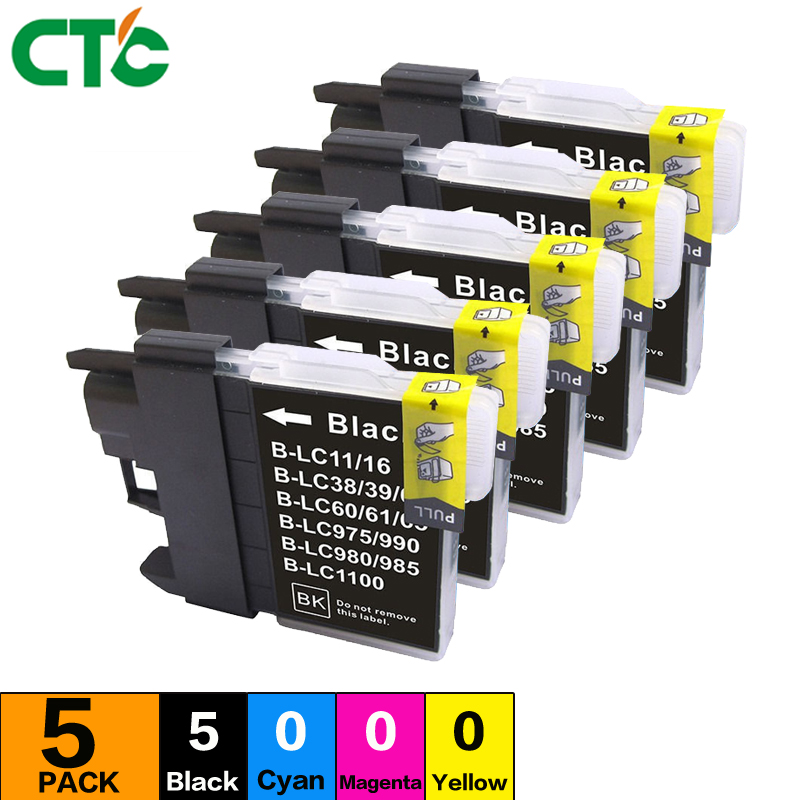 5black LC61 LC980 LC1100 LC16 Ink Cartridge Printer Compatible for Brother DCP-J145C 165C 185C 195C 197C 185C 385C 585CW 6690CW