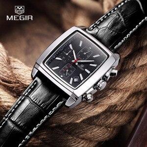 Image 2 - MEGIR neue casual marke uhren männer heißer mode sport armbanduhr mann chronograph leder uhr für männliche leucht kalender stunde