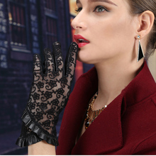 Hot Sale Genuine Leather Women Lace Gloves Unlined Sheepskin Wrist Sunscreen Korean WomenS ZP1026-5