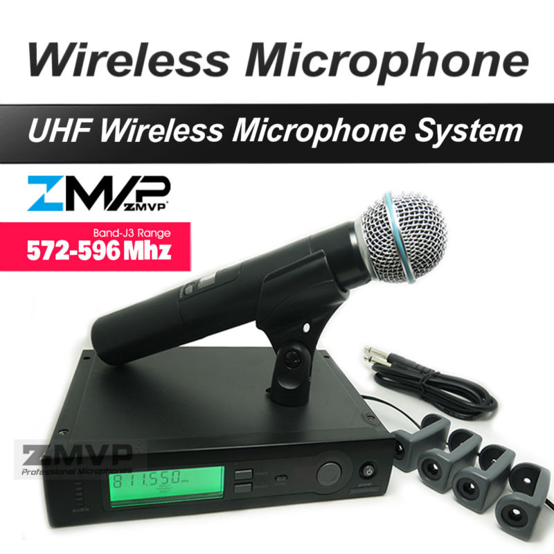 ZMVP UHF Professional SLX24 BETA58 Wireless Microphone SLX Cordless Karaoke System With Handheld Transmitter Band J3 572-596Mhz zmvp uhf professional slx24 beta58 wireless microphone cordless slx karaoke system with handheld transmitter band r5 800 820mhz