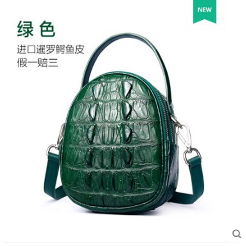 Bolso de mujer de cuero de cocodrilo yuanyu de cuero genuino importado de Tailandia bolso de cocodrilo solo bolso de hombro pequeño bolso redondo - 5