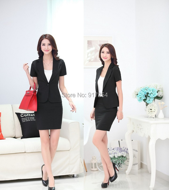 Plus Size 2015 Formal Uniform Style Blazers Fashion Slim Summer Professional Business Work Wear Suits With Skirt For Ladies