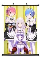 Hot Japan Anime Re Zero kara Hajimeru Isekai Seikatsu Rem Ram Poster Wall Scroll