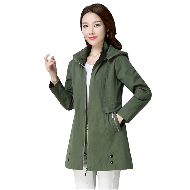 Spring   trench   coat womens 2019 autumn casual loose windbreakers womens solid hooded plus size coats female long slim windbreaker